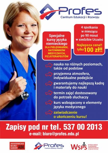 kurs języka niemieckiego z elementami języka medycznego